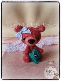 The teddy bear is doing knitting!