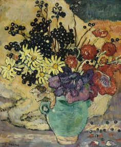 Louis Valtat, BOUQUET DE FLEURS AU PICHET VERT, oil on canvas, Painted circa 1912. Sotheby's