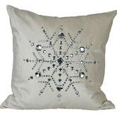 Found it at Wayfair - Bejeweled Snowflake Cotton Throw Pillow