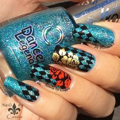 Nails by Cassis: Turquoise Diamond Mani #nails #nailart #nailstamping #dancelegend #bornprettystore