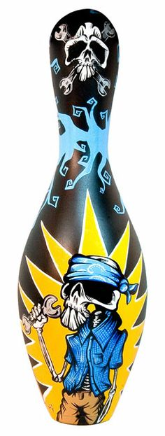 * El Macanico Bowling Pin Hot Rod And Low Brow Art ~ by David Lozeau *