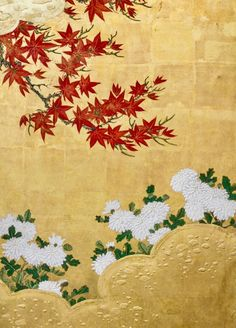 Japanese six panel folding screen of Four Seasons. Kano School.  Mineral pigments on gold leaf.  c. late 18th/early 19th century.