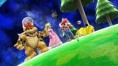 Bowser, Peach, Mario and Pikachu on the Super Mario Galaxy 2 stage - Super Smash Bros Wii U