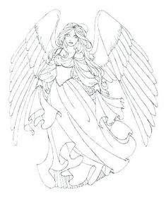 Angel Coloring Pages, Coloring Pages For Grown Ups, Coloring Pages To Print, Free Printable Coloring Pages, Free Coloring Pages, Coloring Books, Beautiful Angels Pictures, Angel Pictures, Printable Halloween