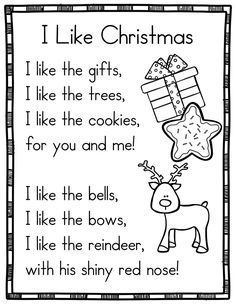 14 Christmas Themed Sight Word Poems for Shared Reading (for beginning readers) Xmas Poems, Christmas Poems, Holiday Poems, Christmas Songs For Kids, Preschool Christmas, Kindergarten Poetry, Kindergarten Classroom, English Poems For Kids, Preschool Poems
