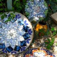 That's right you can create beautiful garden stones by broken dishes or china. So don't throw that china away or those ceramic dishes away. OOOPS...