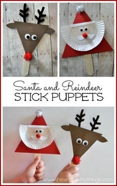 DIY Santa and Reindeer stick puppet craft! Kids will love making these cute little Christmas puppets and can use them to retell their favorite Christmas stories. Preschool Christmas, Christmas Crafts For Kids, Christmas Activities, Christmas Projects, Christmas Themes, Holiday Crafts, Christmas Decorations, Christmas Ornaments, Homemade Christmas