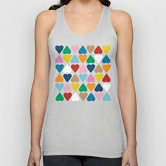 Diamond Hearts on Grey Unisex Tank Top #hearts #heart #love #grey #rainbow #colour #color #projectm #bright #bold