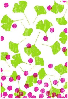 spring-inspired art print, with Ginko leaves and berries.