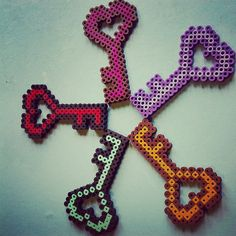 Heart Key Perler by SugaryPaws on Etsy