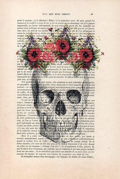 Pink flower skull vintage dictionary print vintage book print page skull flower 04 cs the genuine antique paper i use comes from 1900s original mightylinksfo
