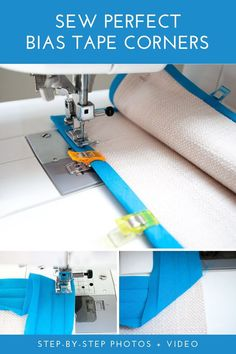 How to sew bias tape corners the easy way! Step-by-step tutorial for sewing pretty and perfect bias tape mitered corners. #bias #tape #corners #sewing #mitered #tutorial #easy