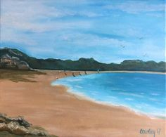 A personal favourite from my Etsy shop https://www.etsy.com/uk/listing/538230751/saundersfoot-beach-print