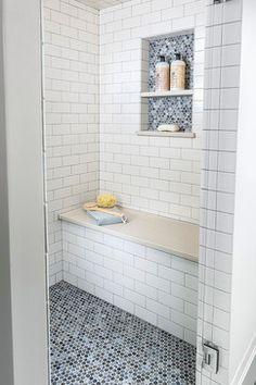 subway tile 3x6 / quartz bench / penny tile / shower niche.