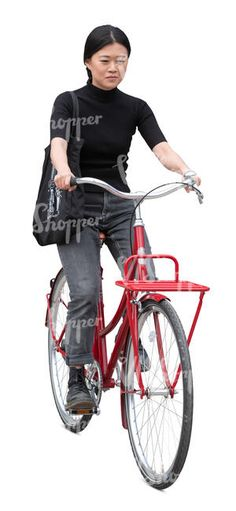 cut out young taiwanese woman riding a bike