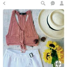 Top a crochet Crochet Halter Tops, Crochet Bikini Top, Crochet Blouse, Diy Crochet, Crochet Top, Crochet Lingerie, Moda Boho, Summer Knitting, Knit Fashion