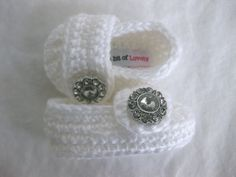 Spring. Baby Girl Shoes / Slippers / Booties White Jewel Crochet - YOUR choice size newborn - 12 months - photo prop - crochet. $20.00, via Etsy.