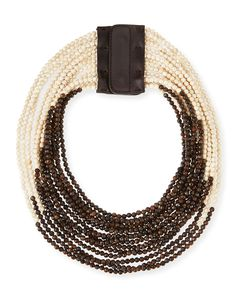 Brunello Cucinelli riverstone multi-strand necklace, vanilla/multi:snap clasp.