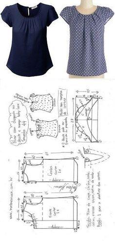 blusa drapeada no decote com manga baby look | DIY - molde, corte e costura - Marlene Mukai