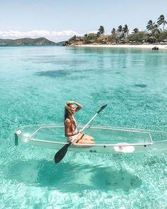 Paddling a transparent kayak in the Philippines. Voyage Philippines, Philippines Travel, Places To Travel, Places To Go, Travel Destinations, Coron Palawan, Travel Outfit Summer, Beaches In The World, Travel Aesthetic