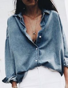 Oversized chambray top, minimal necklace
