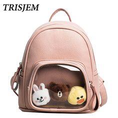 c09594fe5068 TRISJEM Cute Backpack Mini Students Backpacks Preppy Style Women Backpack  School Rucksack For Teenage Girls Transparent