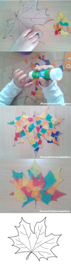 Manualidadesconmishijas: Hojas de otoño transparentes y coloridas para la ventana