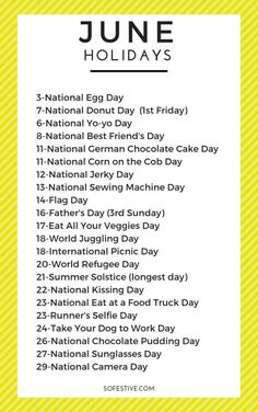 Fun & Random June Holidays To Celebrate - So Festive! - Fun & Random June Holidays To Celebrate – So Festive! Fun and random June Holidays and how to celebrate them. What a great way to celebrate the little things!
