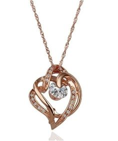 18K Gold plated Heart in Heart with Crystal Pendant Necklace now only $17.95 + free int'l shipping at Myasiatrade.com