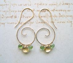 Citrine Peridot Hoop Earrings, Hammered Gold Swirl Hoops, Yellow Green Gemstones, Gemstone Hoops, Citrine Dangles, Peridot Hoops