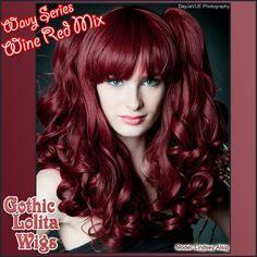 Short Babydoll Lolita - Wine Red - RockStar Wigs - designer, alternative, gothic and rockstar wigs for girls and women