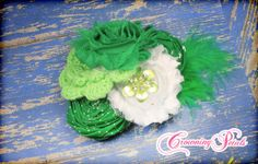Green Shabby Flower Headband St. Patricks Day by CrowningPetals, $16.50