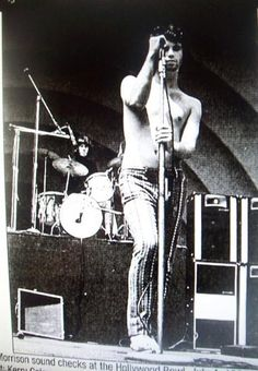 Jim Morrison, July 1968, check sound for the Hollywood Bowl show.