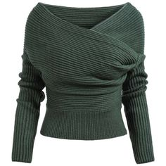 Green Boat Neck Ribbed Sweater featuring polyvore, fashion, clothing, tops, sweaters, sheinside, shirts, green, green shirt, long sleeve tops, knit pullover sweater, loose shirts and green long sleeve shirt