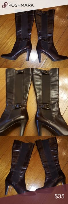 Brown leather boots, size 7 Great brown leather and fabric, heeled boots. Buckles on side. Great condition. Made in Brazil. Unsure of brand. Shoes Heeled Boots