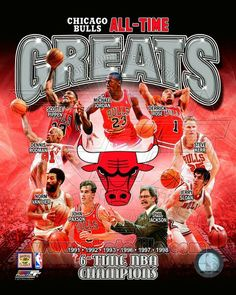 """Chicago Bulls """"All-Time Greats"""" Legends, 6 Championships) Premium Poster Print - Photofile – Sports Poster Warehouse Chicago Bulls Basketball, Basketball History, Basketball Art, Basketball Pictures, Basketball Legends, Basketball Players, Basketball Sayings, Nba Players, Sports Teams"""