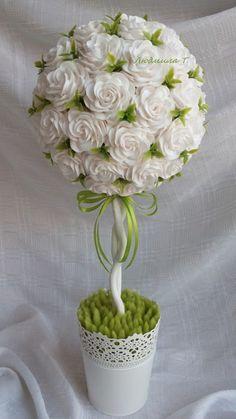 Topiara * z papírových růží - svatební.