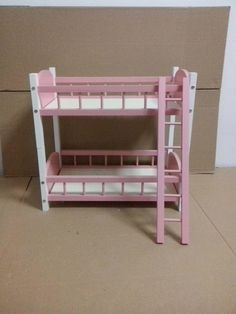 87# Pink Wood Bed/ Bunk Bed Frame Double-decker For 1/3 Bjd Sd Aod Dod Dollife