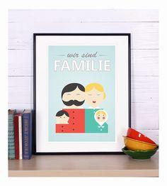 """Originaldruck """"Wir sind Familie"""", A3 Format // art print """"We are family"""" by emugallery via DaWanda.com"""