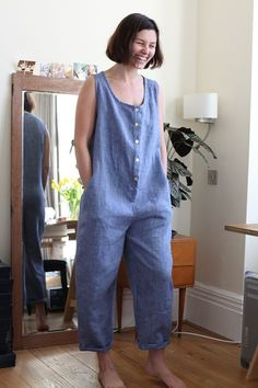 Linen romper...I'd make it a midi length dress.