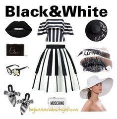 Black & White Summer by hanarabstejnkova on Polyvore featuring Kate Spade, Moschino, Eric Javits, Thomas Wylde and Too Faced Cosmetics
