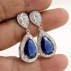 Wedding Jewelry Bridal Earrings Silver Clear Cubic Zirconia Posts Large Dark Sapphire Blue Cubic Zirconia Teardrop Earrings Wedding Earrings...