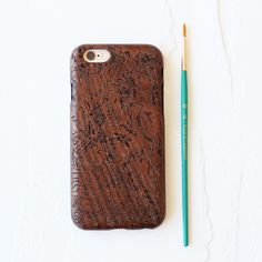 Birds and Blooms Walnut Wood Carved Cell Phone Case