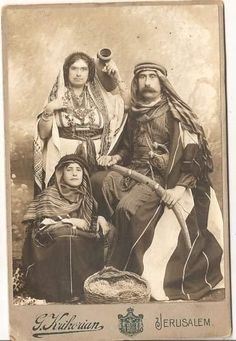 Cabinet Photo Armed Arab Warrior Whit Wife and Son by Krikorian of Jerusalem | eBay