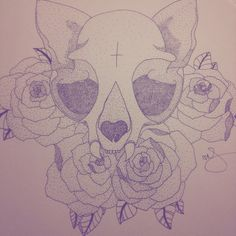 Cat skull and roses