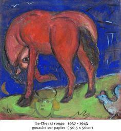 Marc Chagall - 26 juin au 1 Novembre 2016 - Aux Capucins / Landerneau -Les compositions de ces années de guerre vécut en exile aux Etats Unis sont souvent parées de tonalités sombres. Marc Chagall traduit ainsi les soubresauts tragiques que traversent l'Europe et son pays natal.