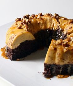"""What makes this cake """"impossible"""" is that the two layers—chocolate cake and flan—reverse in the oven, making for a gorgeous, but startling, presentation."""