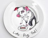 Hand Painted Side Plate - Pig Plate