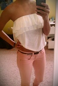 tube top + pastel pants.