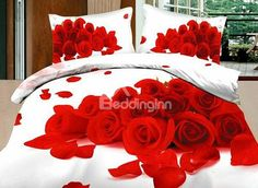 High-grade Fragrant Red Roses Pattern Cotton 4 Pieces Bedding Sets #bedding #bedroom #decor